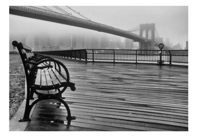 Fototapeta - A Foggy Day on the Brooklyn Bridge
