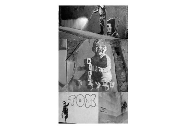 Fototapeta - Banksy - szary kolaż