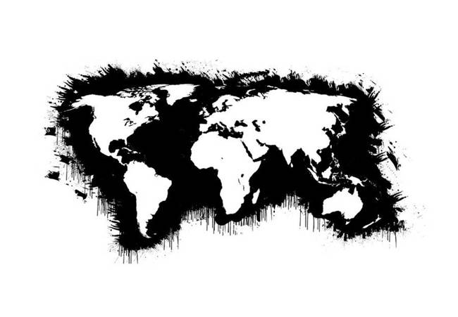 Fototapeta - Białe kontynenty, czarne oceany...