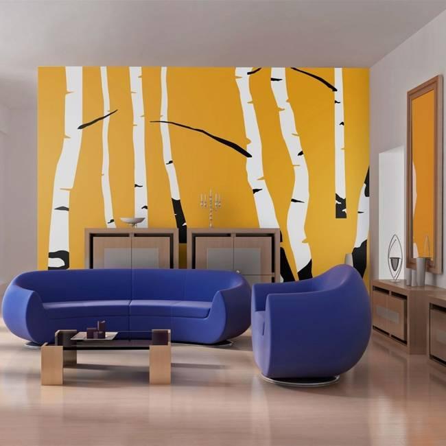 Fototapeta - Birches on the orange background