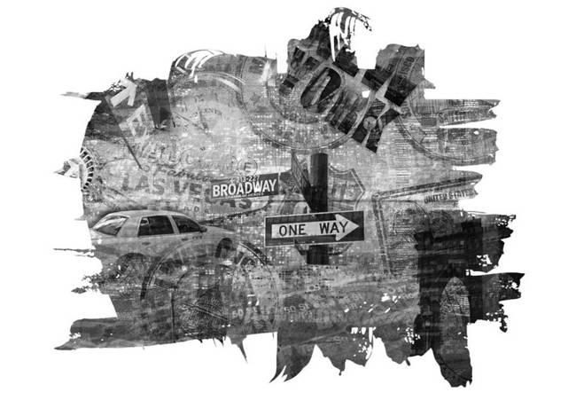 Fototapeta - Black-and-white New York collage