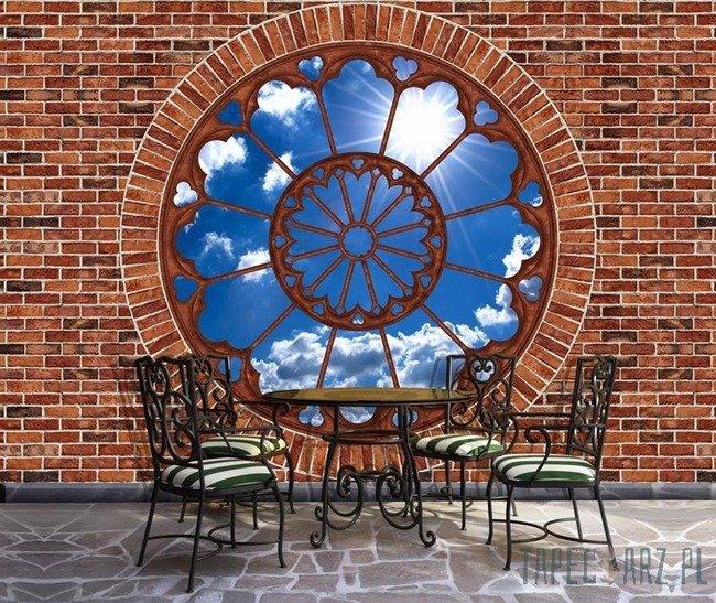 Fototapeta Błękitne niebo - czerwona cegła okno 2184