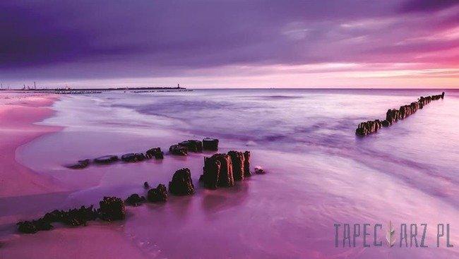 Fototapeta Fioletowy słońca nad morzem 1028