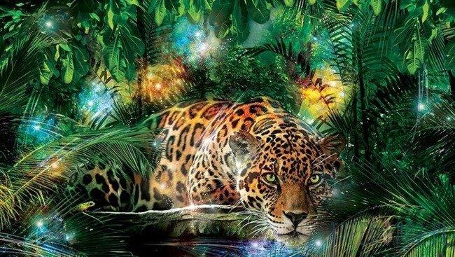 Fototapeta Jaguar w kolorowej dżungli 1333
