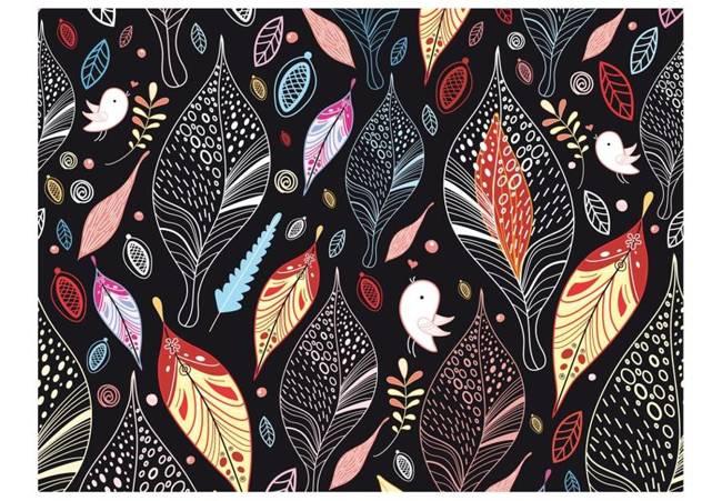 Fototapeta - Jesienne liście na czarnym tle