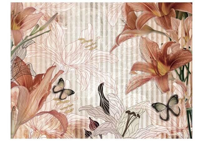 Fototapeta - Kwiaty i motyle