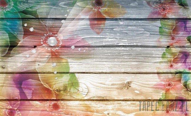 Fototapeta Kwiaty na deskach 3664