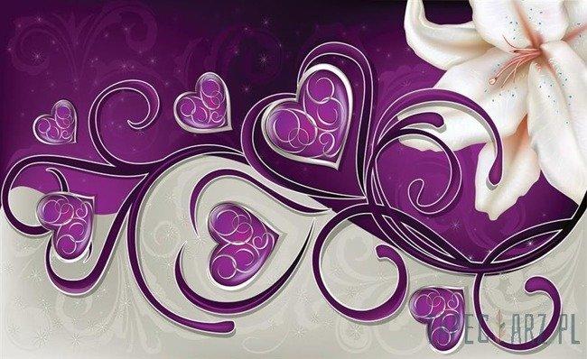 Fototapeta Lilia z sercami na fioletowym tle 703