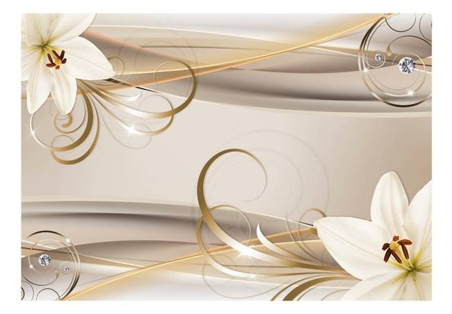 Fototapeta - Lilie i spirale złota