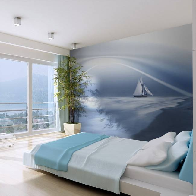 Fototapeta - Lonely sail drifting