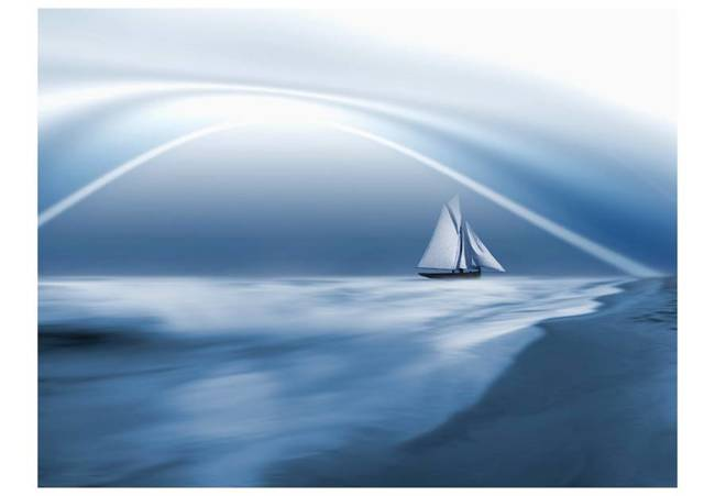 Fototapeta - Lonely sail drifting