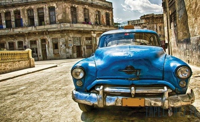 Fototapeta Niebieski samochód - vintage II 1182
