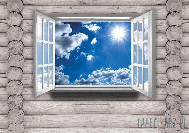 Fototapeta Niebo na drewnianej ścianie 2220