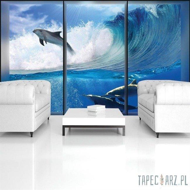 Fototapeta Okno z widokiem na wodę i delfiny 496