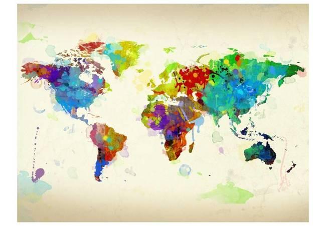 Fototapeta - Paint splashes map of the World