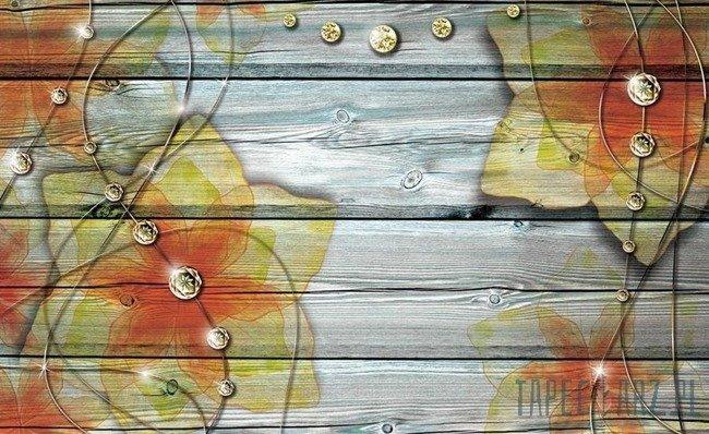 Fototapeta Pomarańczowo-żółte kwiaty na deskach 3555