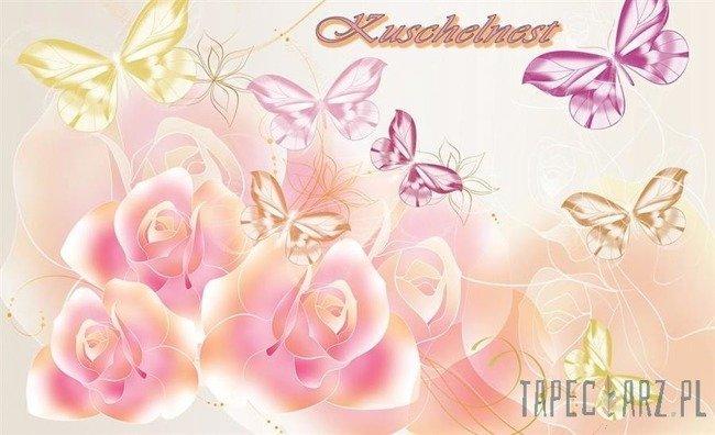 Fototapeta Różowe kwiatki z motylkami 782