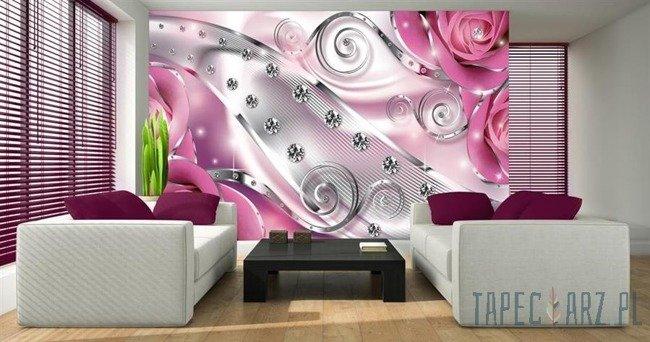 Fototapeta Różowe róże - diamenty 2494