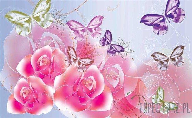 Fototapeta Różowe róże z motylkami 544
