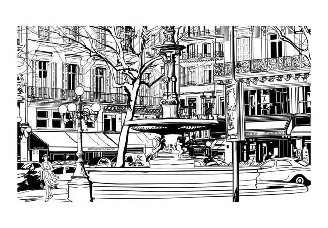 Fototapeta - Sketch of parisian fountain