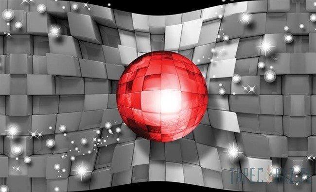 Fototapeta Szare kwadraty i czerwona kula 3702
