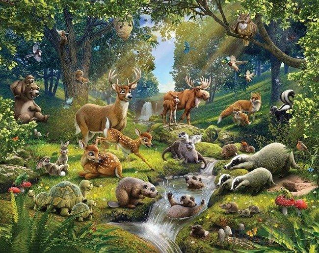 Fototapeta Walltastic 43060 Zwierzęta w lesie