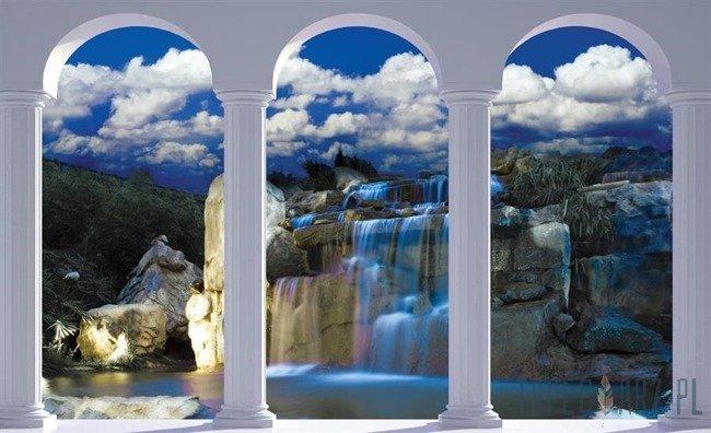 Fototapeta Widok na niebieski wodospad przez kolumny 2350