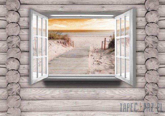 Fototapeta Zejście na plażę na drewnianej ścianie 2221