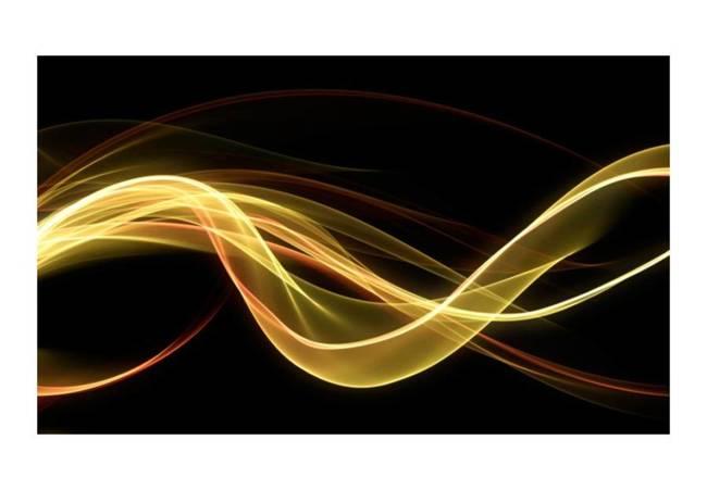 Fototapeta - Żółta dynamiczna fala na czarnym tle