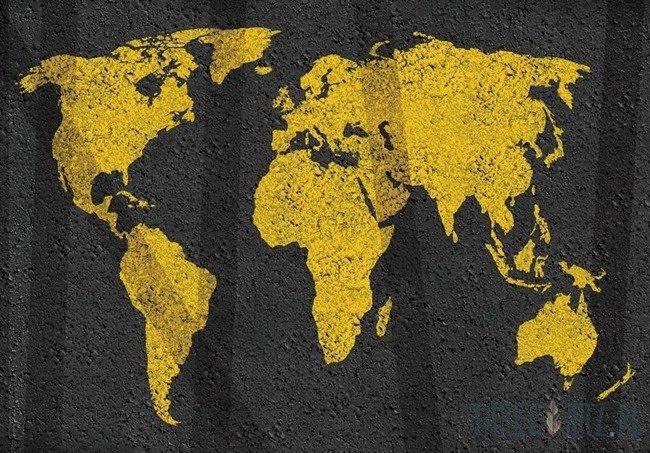 Fototapeta Żółta mapa świata 3744