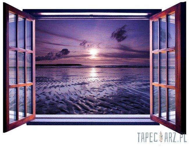 Fototapeta na flizelinie Fioletowy zachód słońca - Widok przez otwarte okno 821
