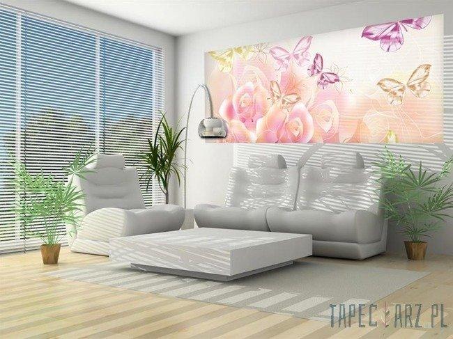 Fototapeta na flizelinie Jasne róże z motylkami 543VEP