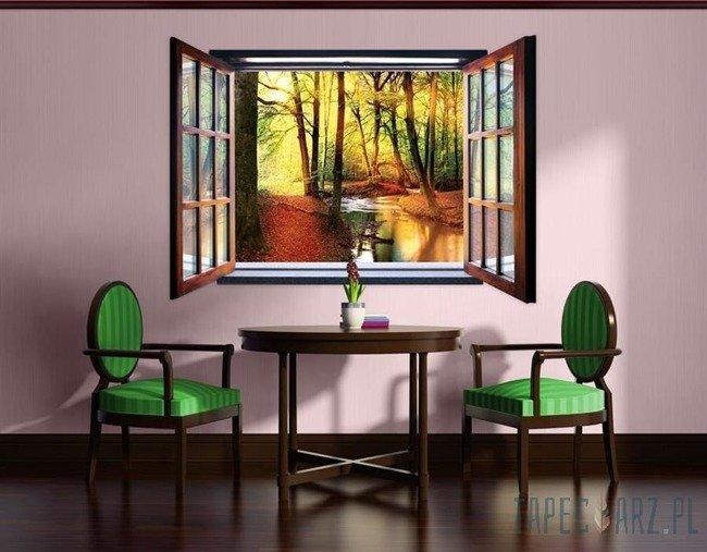 Fototapeta na flizelinie Jesienny las przez otwarte okno 2079