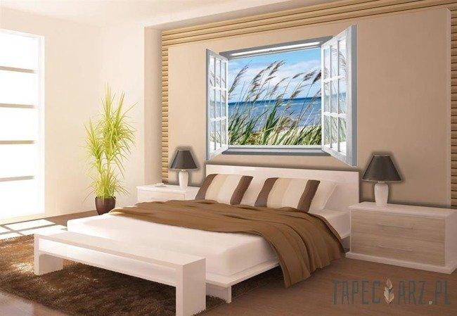 Fototapeta na flizelinie Nadmorska trawa przez otwarte białe okno 2071