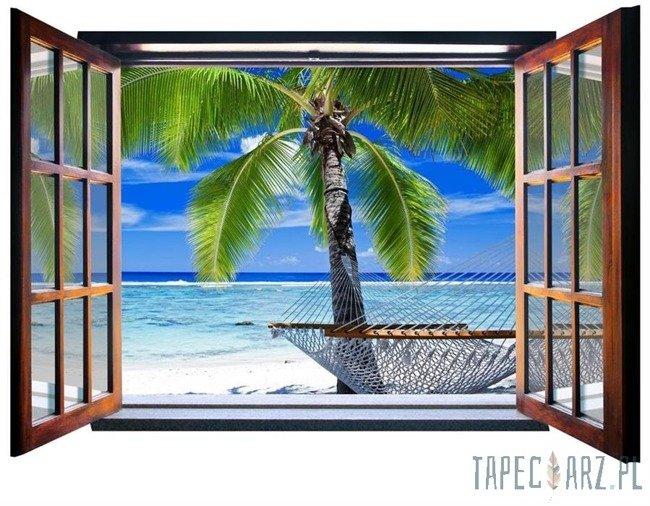 Fototapeta na flizelinie Plaża - Widok przez otwarte okno 830