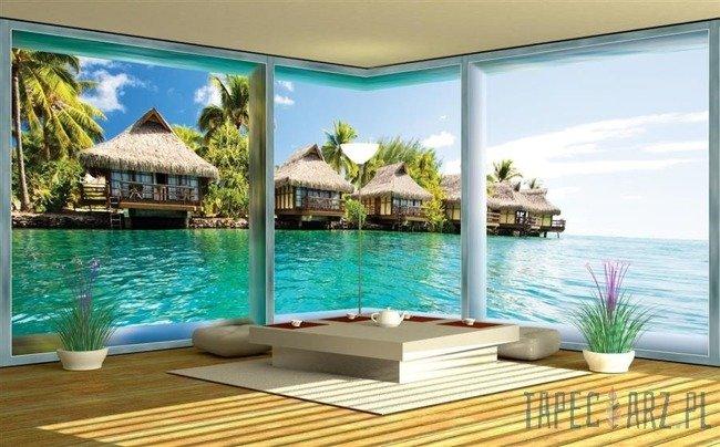Fototapeta na flizelinie Widok na Hawaje przez okno 439VEE