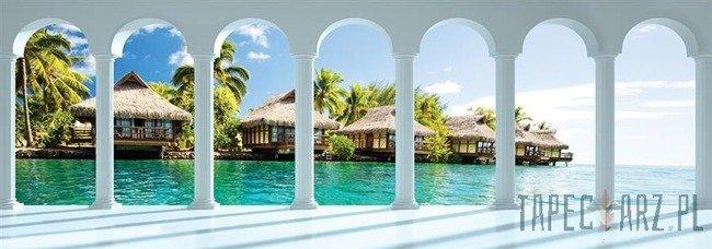 Fototapeta na flizelinie Widok przez kolumny na hawajskie domki 2675VEE