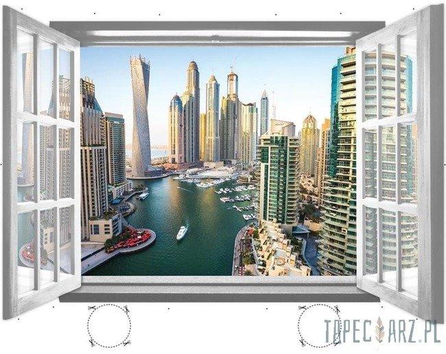 Fototapeta na flizelinie Wieżowce Dubaju przez otwarte białe okno 1942