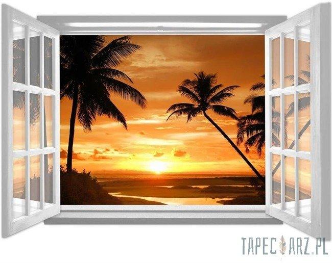 Fototapeta na flizelinie Zachód słońca na plaży przez otwarte białe okno 1061
