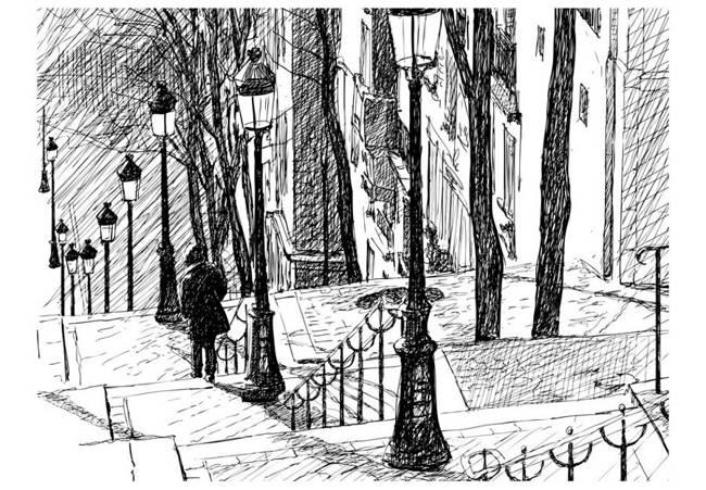 Fototapeta - schody - Montmartre