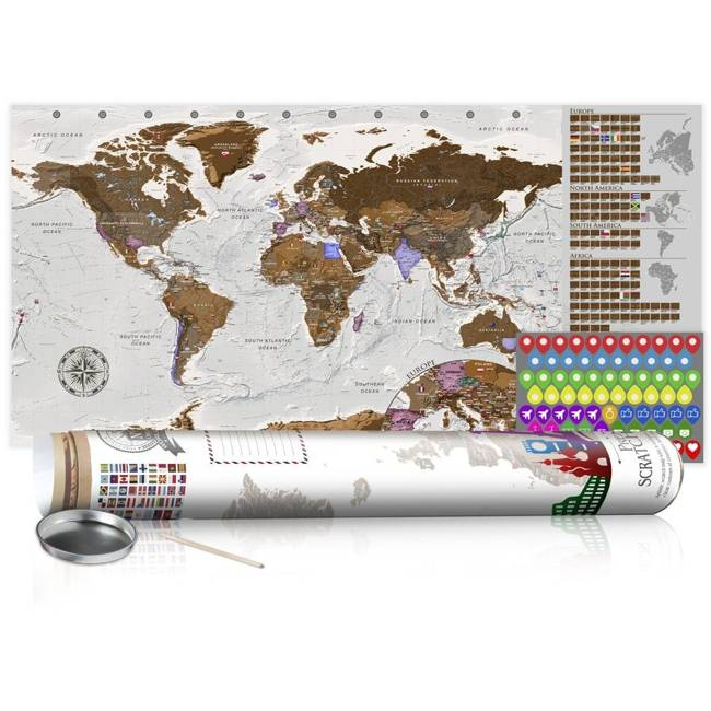 Mapa zdrapka - Szara mapa - plakat (wersja angielska)