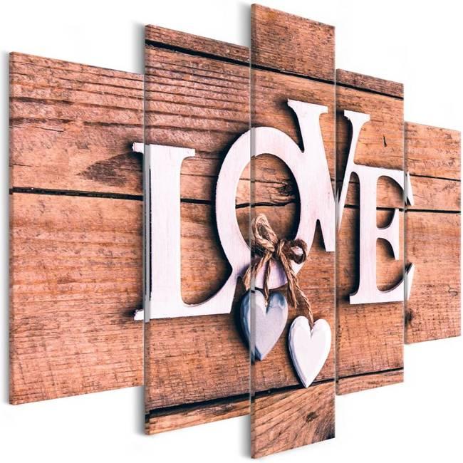 Obraz - Drewniane literki (5-częściowy) szeroki