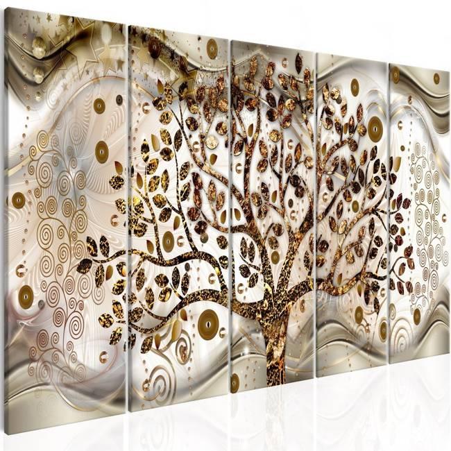 Obraz - Drzewo i fale (5-częściowy) brązowy