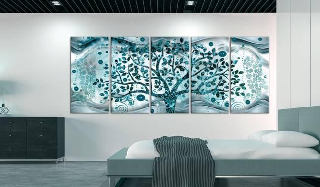 Obraz - Drzewo i fale (5-częściowy) niebieski