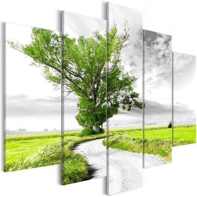 Obraz - Drzewo przy drodze (5-częsciowy) zielony