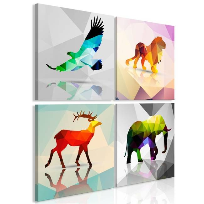 Obraz - Kolorowe zwierzęta (4-częściowy)