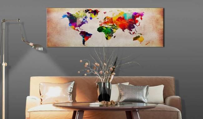 Obraz - Mapa świata: Kolorowa włóczęga