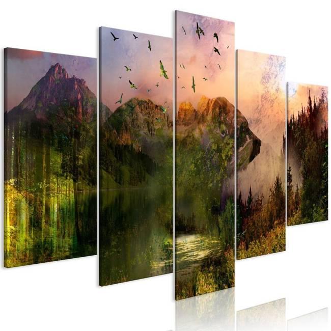 Obraz - Niedźwiedź w górach (5-częściowy) szeroki
