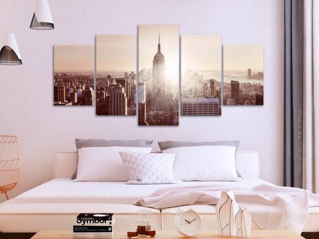 Obraz - Słońce nad Manhattanem (5-częściowy) szeroki brązowy