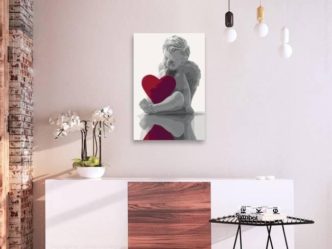 Obraz do samodzielnego malowania - Aniołek (czerwone serce)